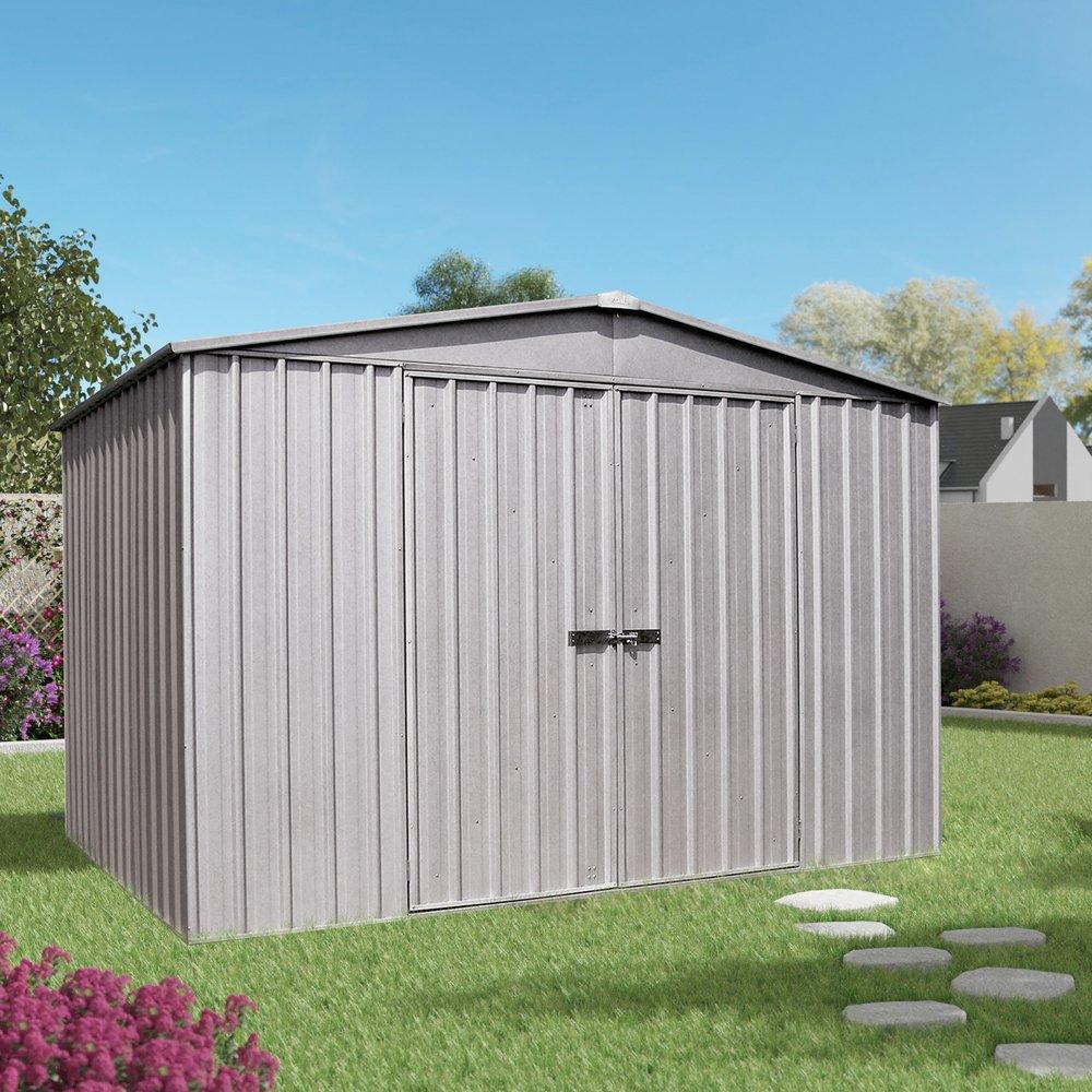 Abris, garages et serres - Garage 2 portes 10,98 m2 en métal gris photo 1