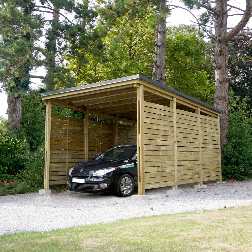 Abris, garages et serres - Carport fermé pour 1 voiture en pin traité autoclave photo 1