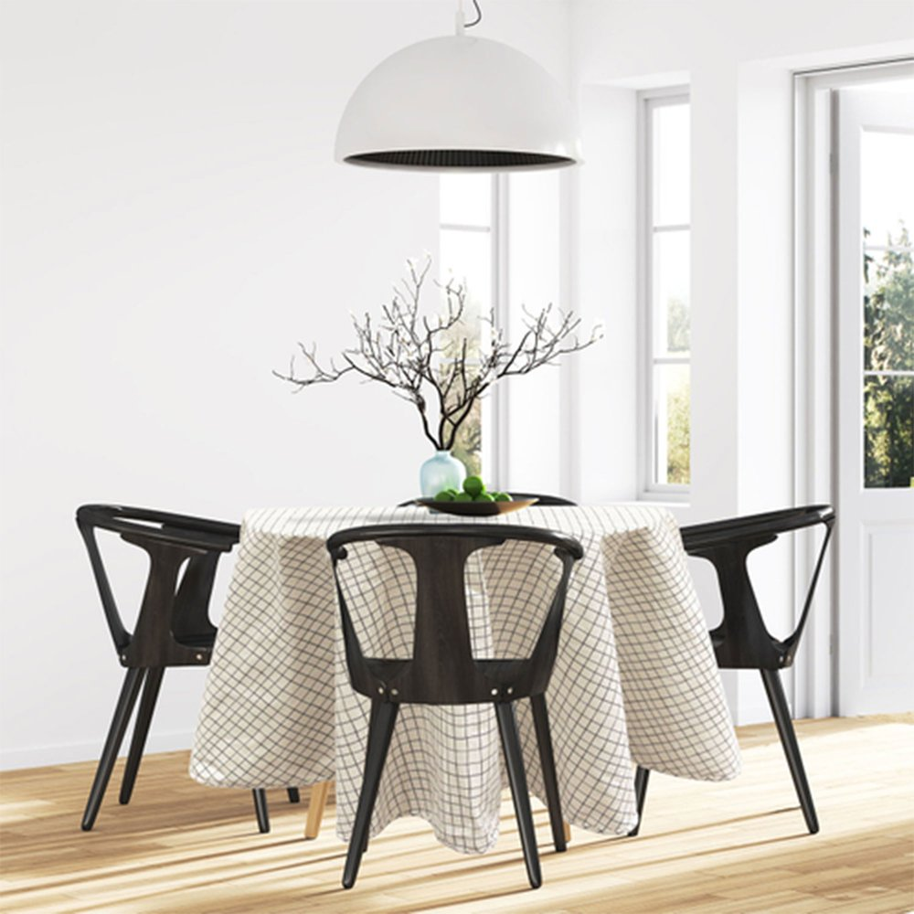 Linge de table - Nappe ronde 180 cm en tissu à motifs blanc et vert photo 1