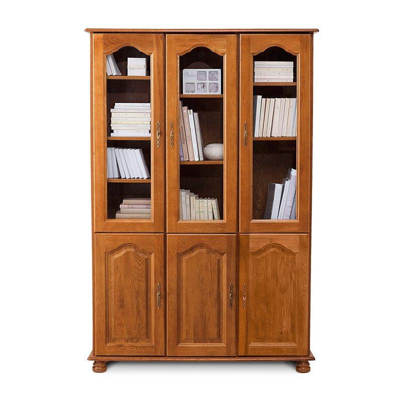 biblioth que 3 portes vitr es 3 portes pleines ch ne maison et styles. Black Bedroom Furniture Sets. Home Design Ideas