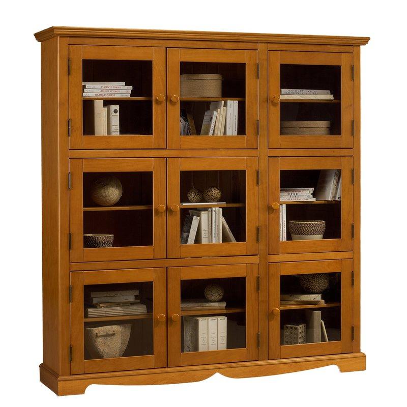 Biblioth que pin miel 9 portes vitr es maison et styles - Etagere faible profondeur ...