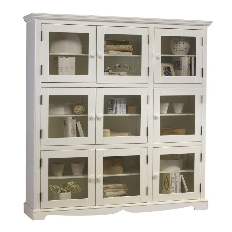 biblioth que blanche 9 portes vitr es de style anglais maison et styles. Black Bedroom Furniture Sets. Home Design Ideas
