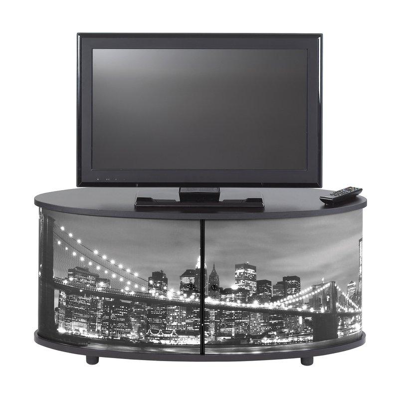 Meuble tv classeur rideau decor town noir maison et styles for Meuble classeur rideau