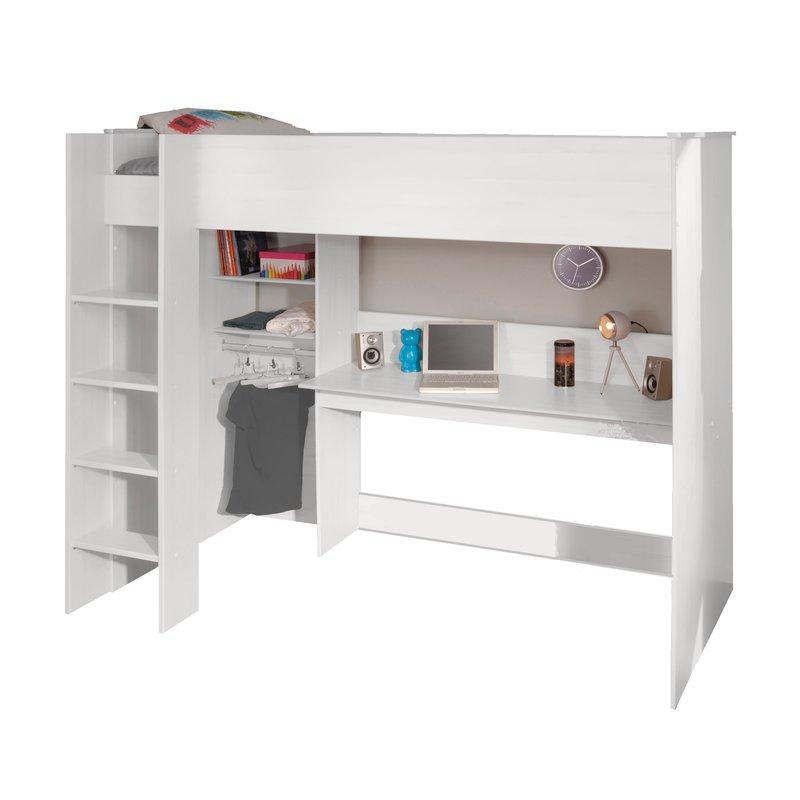 lit mezzanine soen 90x200cm coloris blanc maison et styles. Black Bedroom Furniture Sets. Home Design Ideas