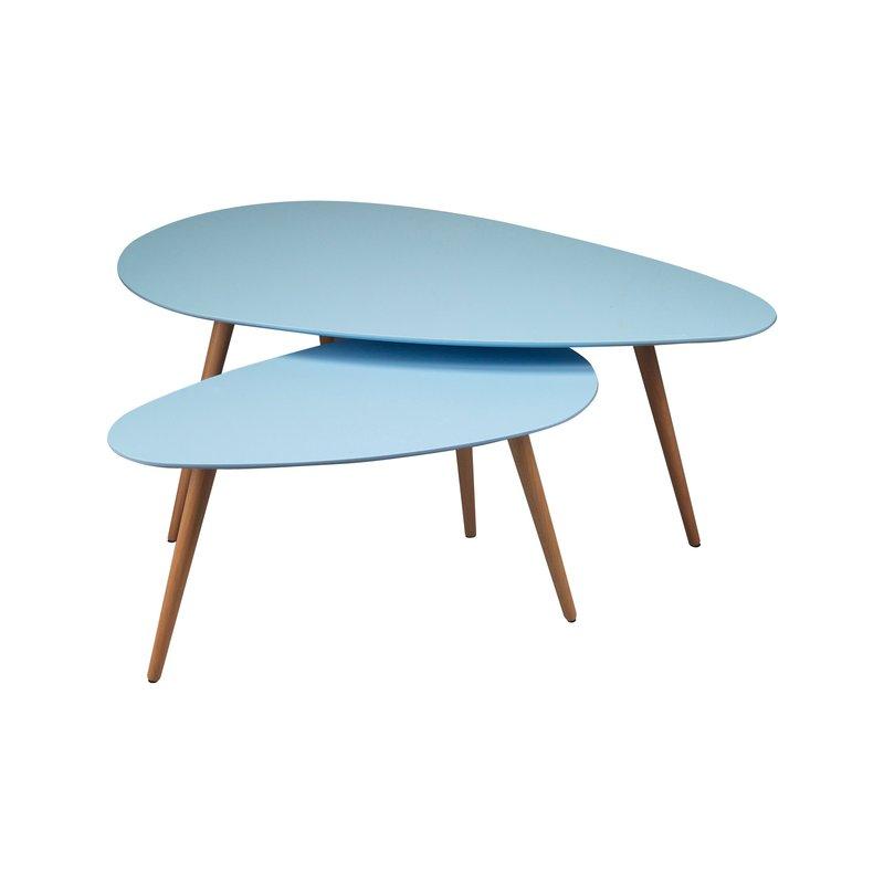 tables gigognes 116x66x45cm coloris bleu baltic maison et styles. Black Bedroom Furniture Sets. Home Design Ideas
