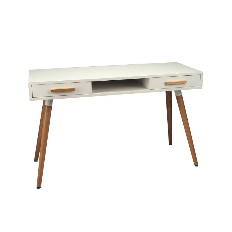 bureau 120x45x75cm coloris blanc et ch ne baltic maison et styles. Black Bedroom Furniture Sets. Home Design Ideas