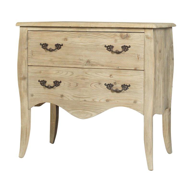 commode 2 tiroirs 90x50x85cm coloris pin gris comtesse maison et styles. Black Bedroom Furniture Sets. Home Design Ideas