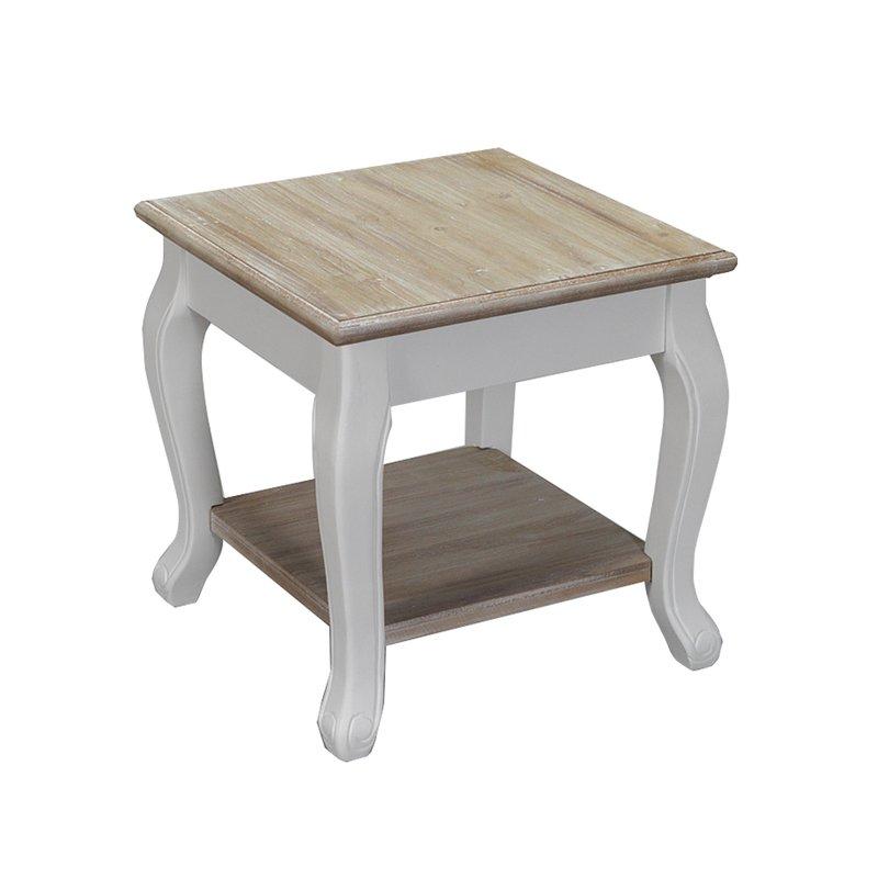 Bout de canap en bois 40x40x41 cm coloris blanc leonie for Bout de canape blanc