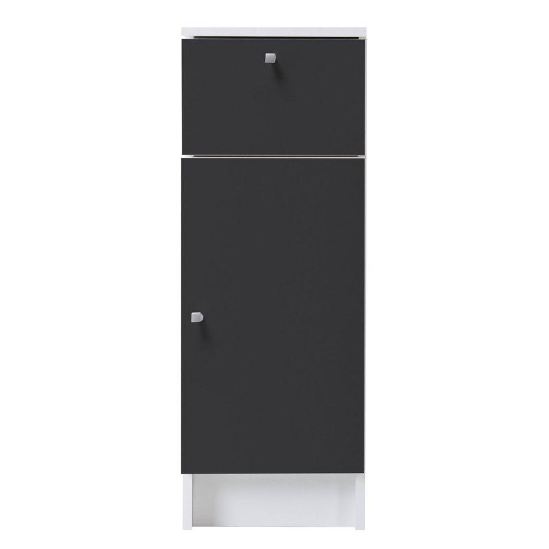 Meuble bas 30x84x32cm 1 porte tiroir coloris gris for Meuble salle de bain 1 porte 1 tiroir