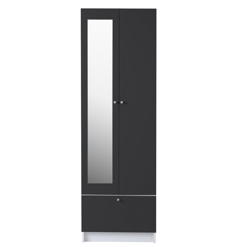 Armoire 2 portes miroir 59x31x185cm coloris gris - Armoire 2 portes miroir ...