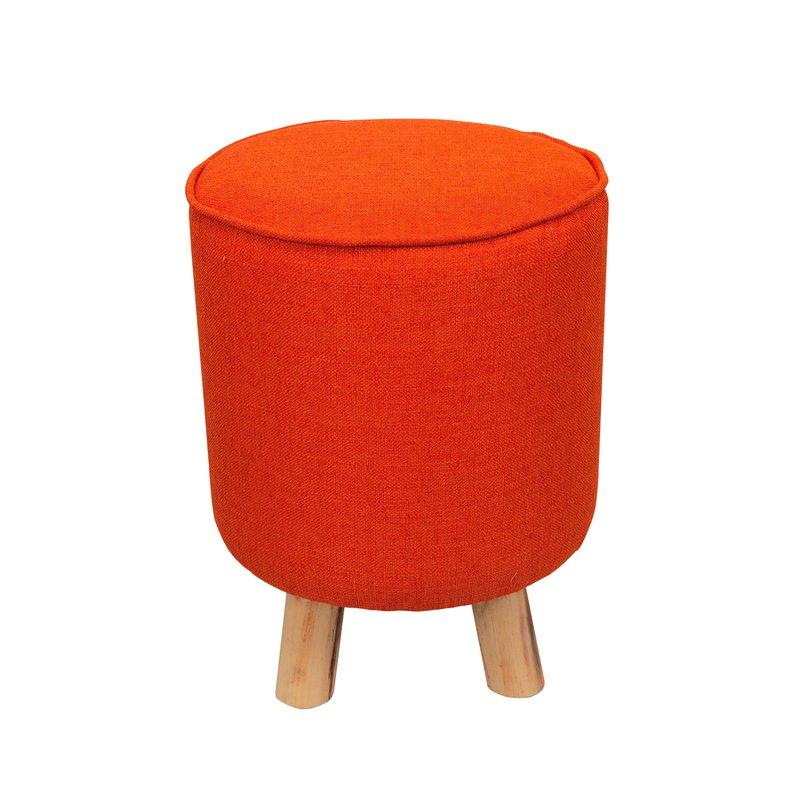 pouf avec pieds en bois coloris orange baltic maison. Black Bedroom Furniture Sets. Home Design Ideas