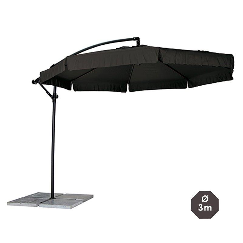 parasol d port rond diam tre 3m coloris noir maison et styles. Black Bedroom Furniture Sets. Home Design Ideas