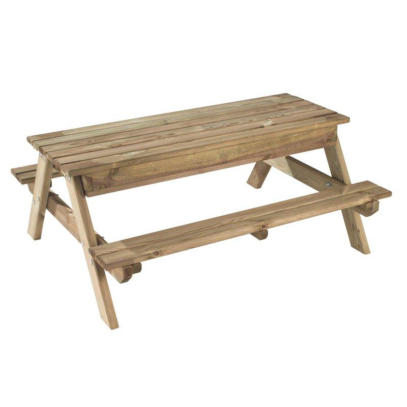 Table de pique nique bac sable enfant en bois arielle - Table bac a sable bois ...