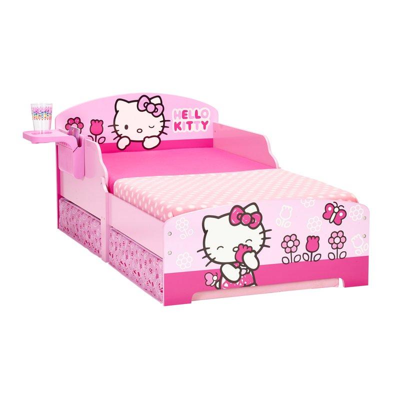 Chambre Enfant   Lit Hello Kitty 140x70cm Avec Tiroirs+tablette Coloris  Rose Photo 1