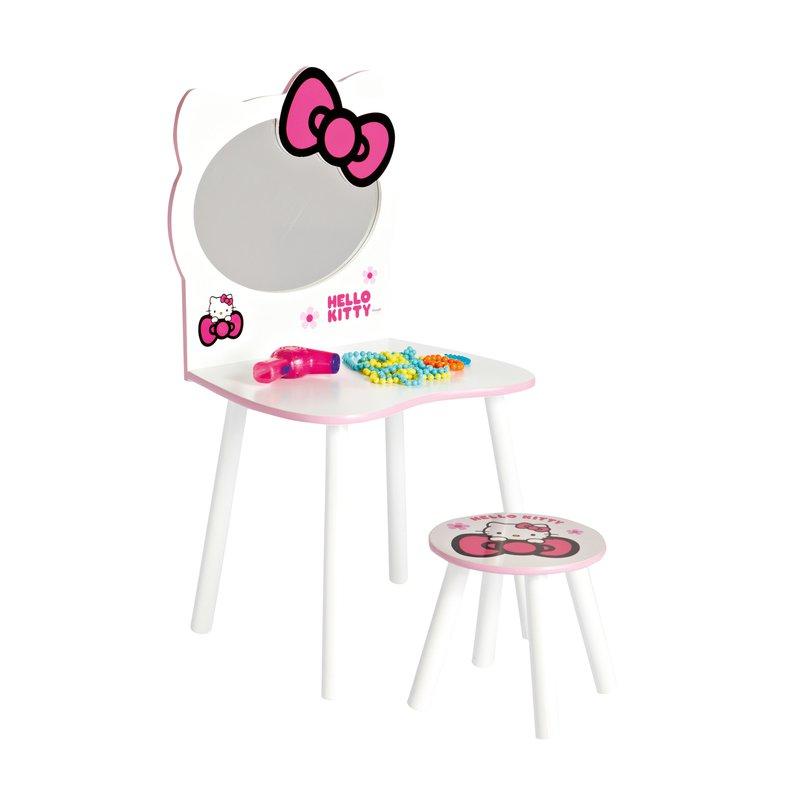 Coiffeuse et tabouret hello kitty 49x42x92cm coloris blanc maison et styles - Coiffeuse et tabouret ...