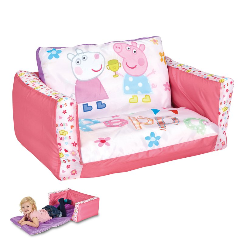 canap lit gonflable peppa pig 105x68x26cm coloris rose. Black Bedroom Furniture Sets. Home Design Ideas