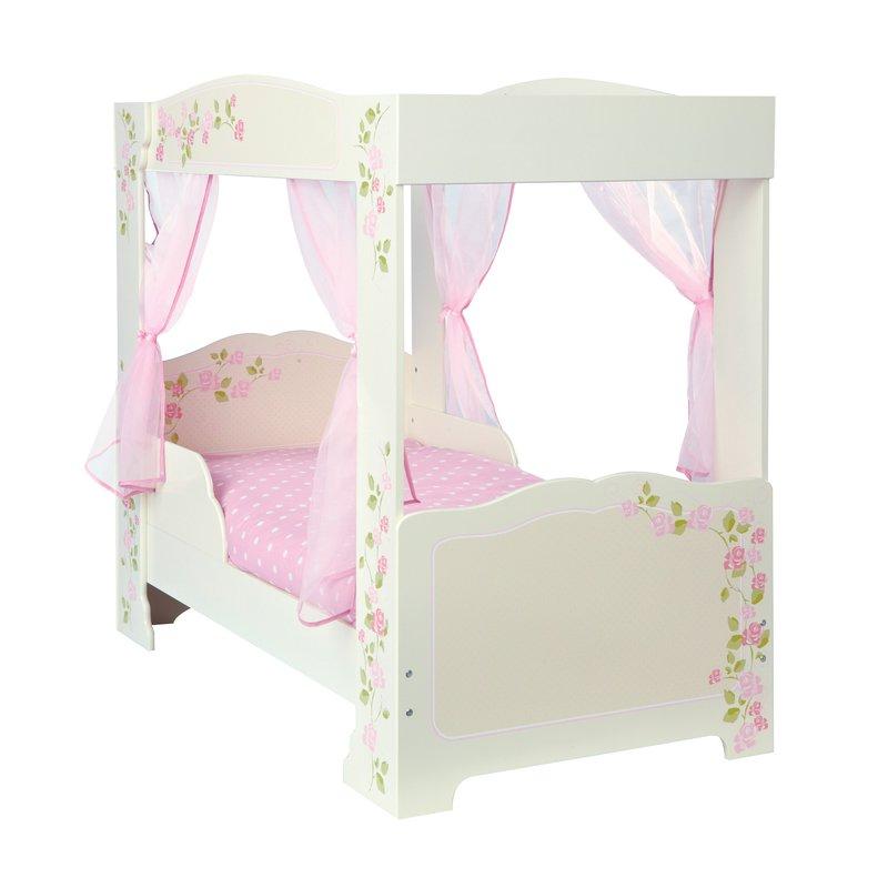 Lit baldaquin en bois motifs roses 140x70cm coloris blanc maison et styles - Lit baldaquin bois blanc ...