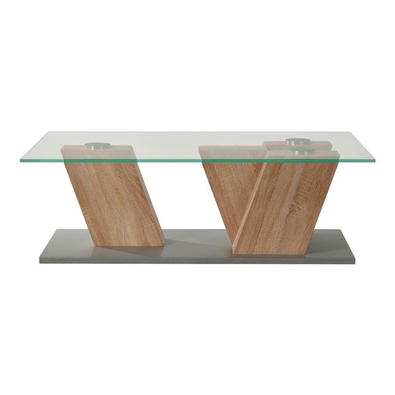 Table basse plateau verre 117x53x42cm pieds ch ne clair maison et styles - Table basse chene et verre ...