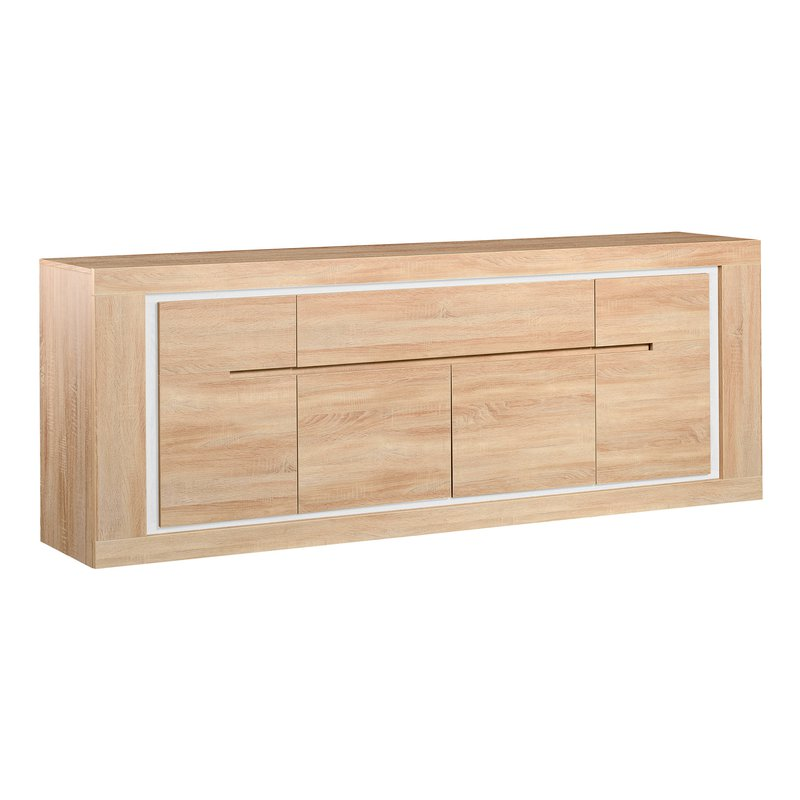 bahut 4 portes 1 tiroir 240x50 leds bandeau r versible coloris ch ne clair maison et styles. Black Bedroom Furniture Sets. Home Design Ideas