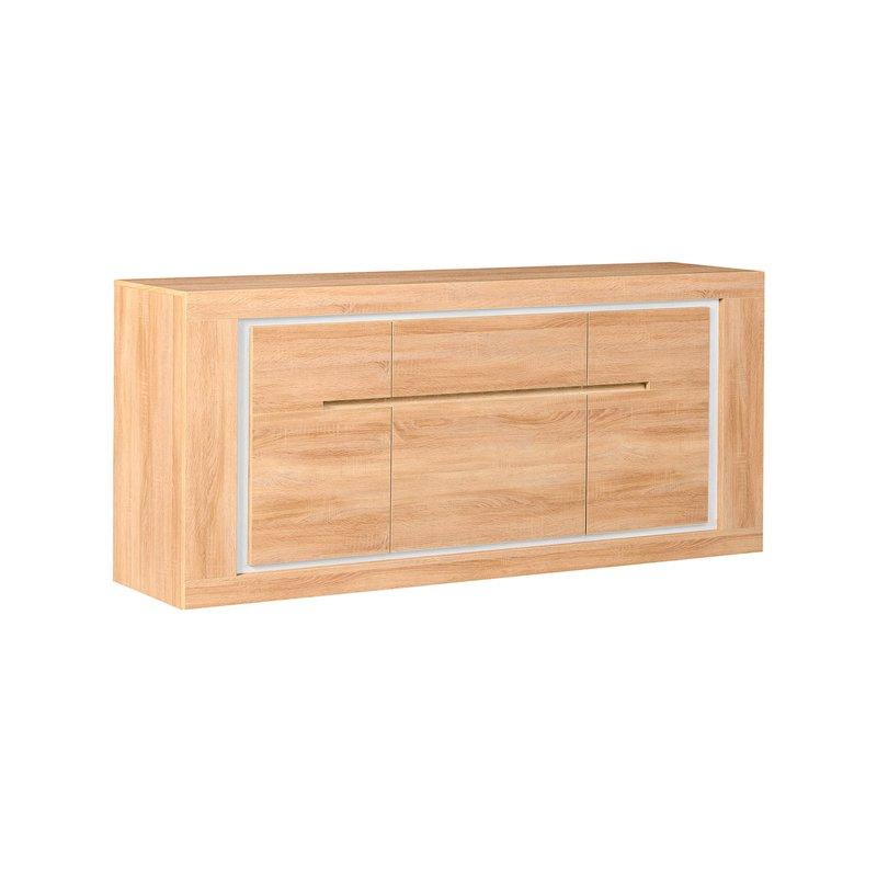 bahut 3 portes 200x50x88cm leds bandeau r versible coloris ch ne clair maison et styles. Black Bedroom Furniture Sets. Home Design Ideas