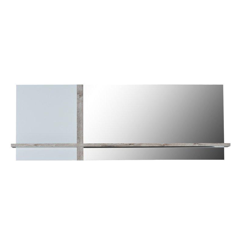 Miroir avec tablette 173x17x61cm coloris blanc laqu et for Miroir tablette
