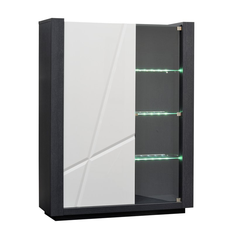 armoire vitrine avec leds coloris blanc laqu et gris. Black Bedroom Furniture Sets. Home Design Ideas