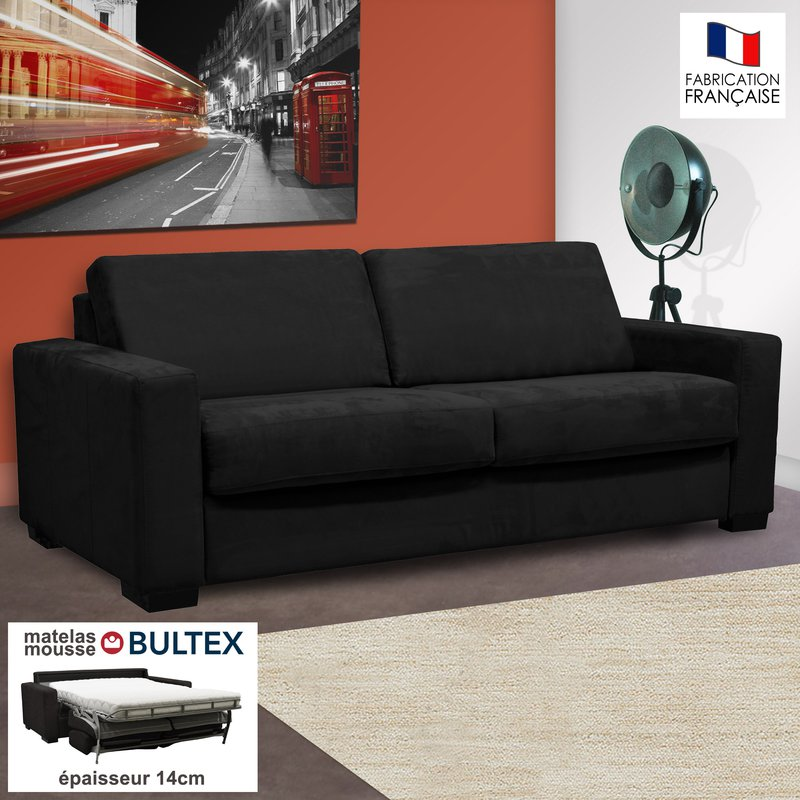 Canapé - Canapé 3 places convertible bultex microfibre coloris noir LOUISA photo 1