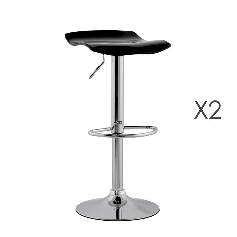 Lot de 2 tabourets de bar design 39x42x84cm SURFY - noir