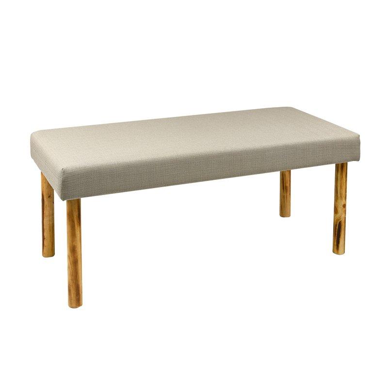 banc en bois 110x50x46cm coloris gris clair maison et. Black Bedroom Furniture Sets. Home Design Ideas
