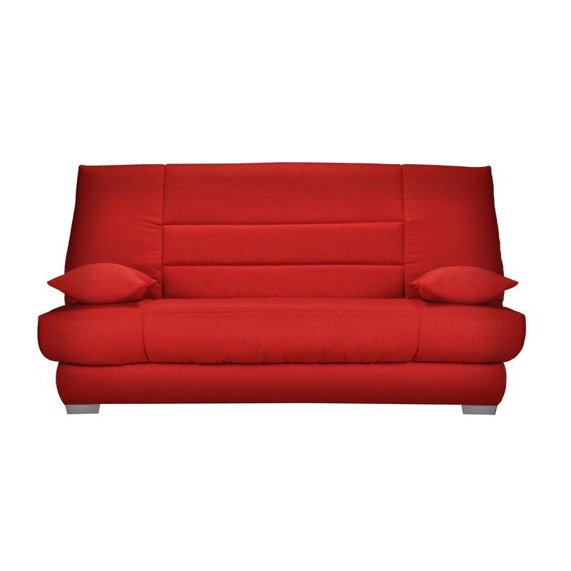 Banquette - Banquette-lit clic-clac 130cm mousse HD 28kg motif rouge photo 1