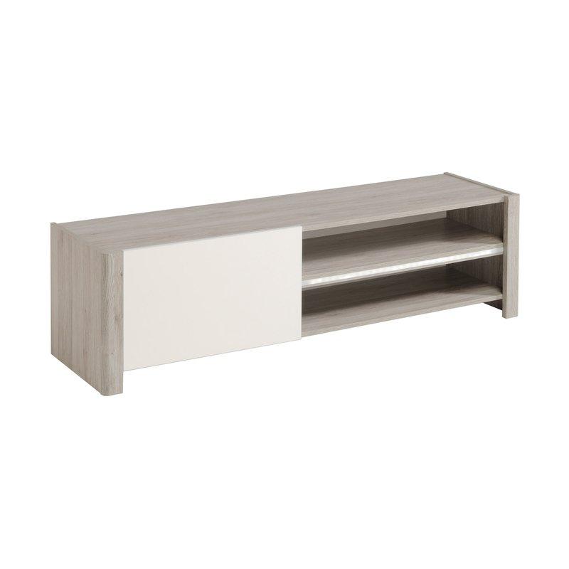 Banc tv 1 porte 150x42x40cm ch ne gris et blanc laqu for Banc tv chene
