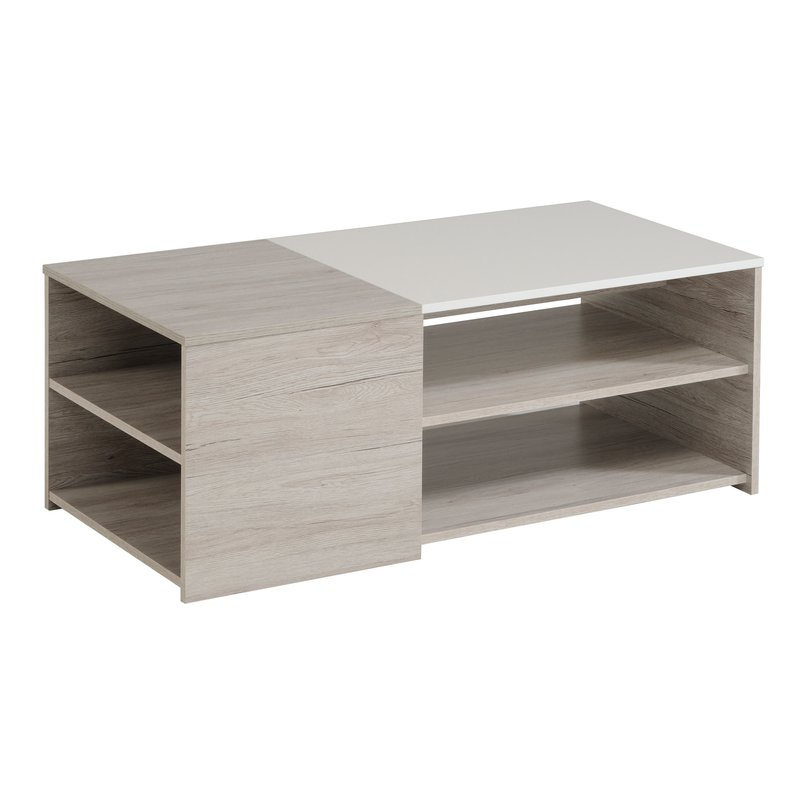 table basse 107x54x41cm ch ne gris et blanc laqu zola. Black Bedroom Furniture Sets. Home Design Ideas