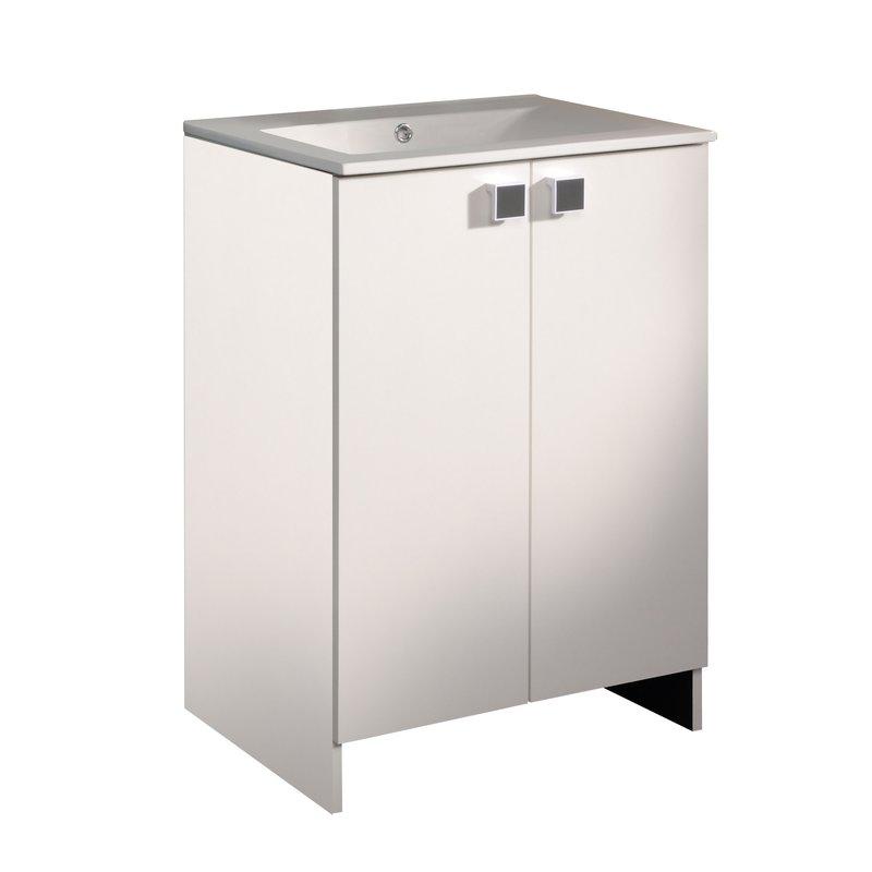 Meuble sous vasque 2 portes largeur 60cm coloris blanc et anthracite mais - Meuble 60 cm largeur ...