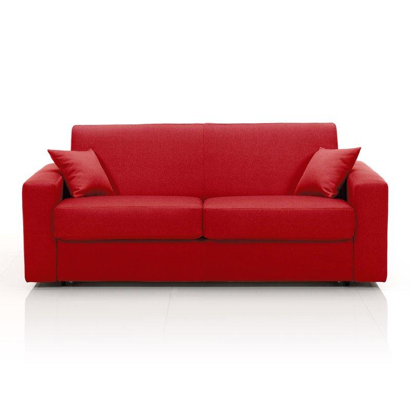 Canapé 3 places fixe, tissu déhoussable - rouge