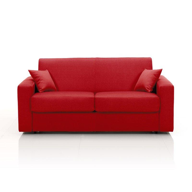 Canapé - Canapé convertible 2 places, tissu déhoussable - rouge photo 1