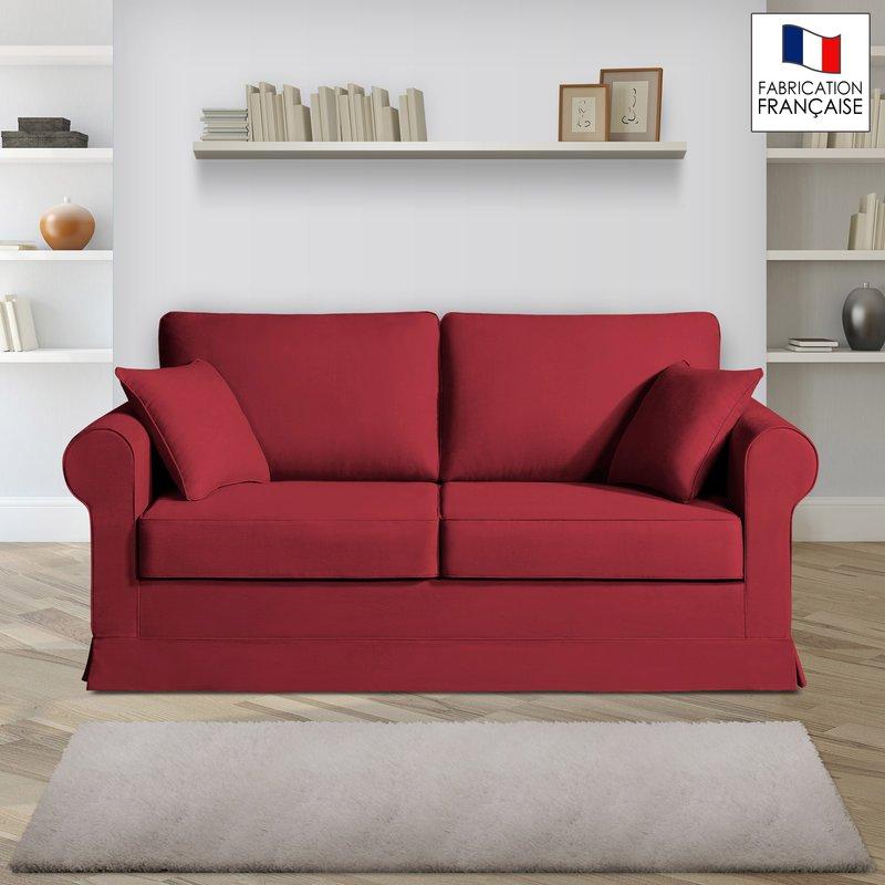 Canapé 2 places fixes - 100% coton - coloris griotte ADELE