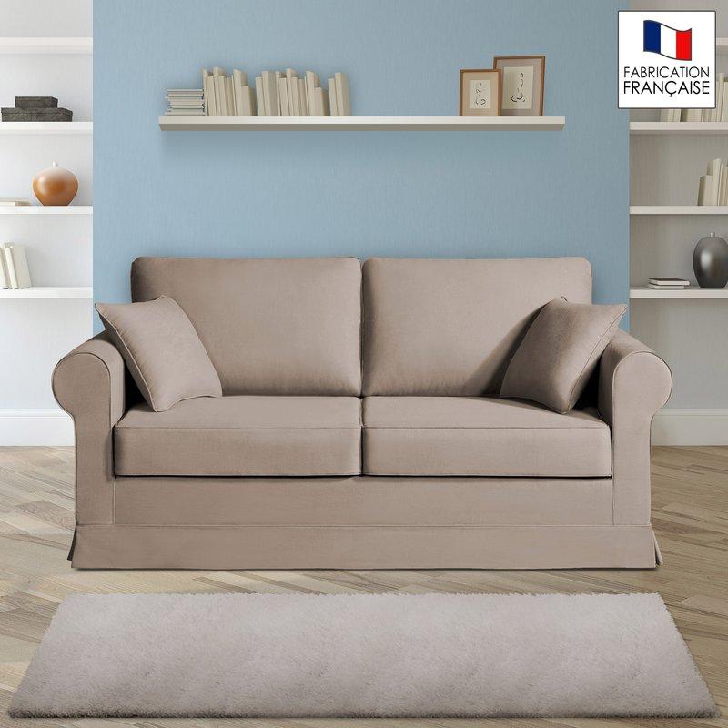 Canapé 2 places fixes - 100% coton - coloris havane ADELE