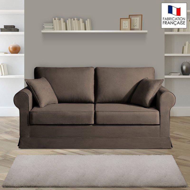 Canapé 2 places fixes - 100% coton - coloris chocolat ADELE