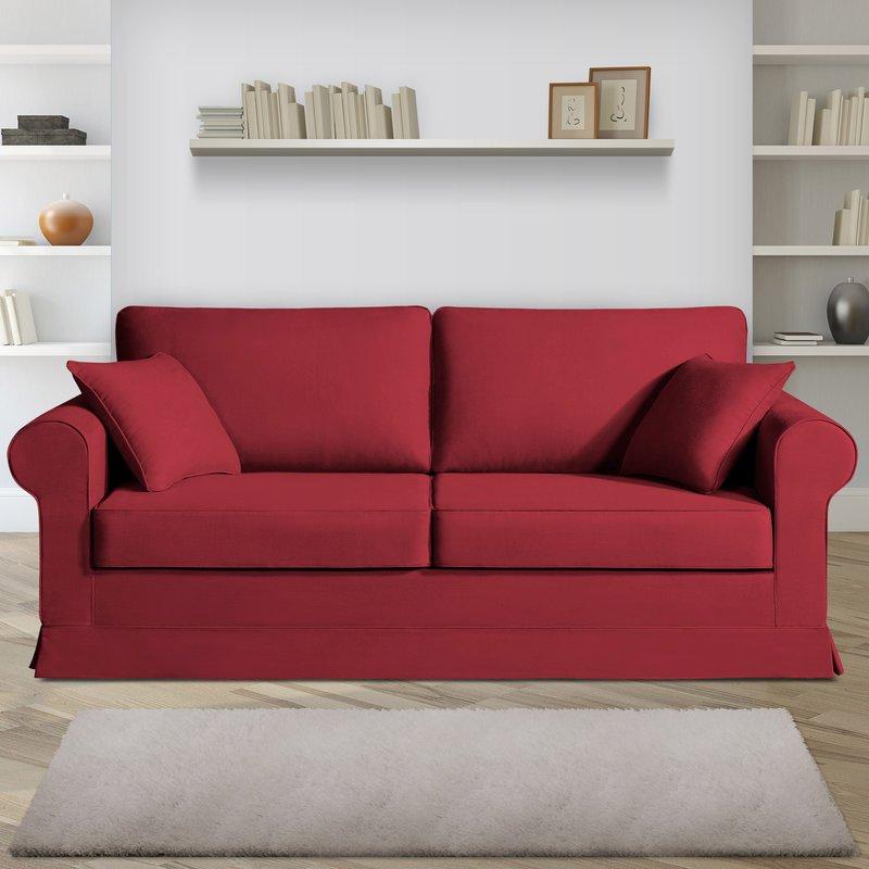 Canapé 3 places fixes - 100% coton - coloris griotte ADELE
