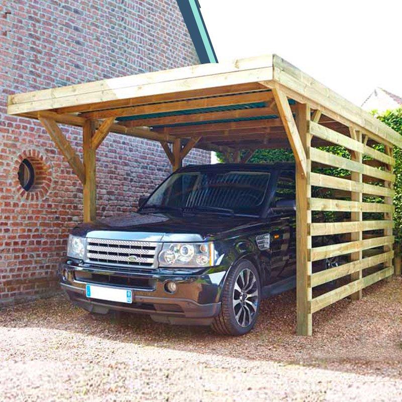 Carport autoportant en bois trait autoclave avec 2 cot s for Garage en bois traite autoclave