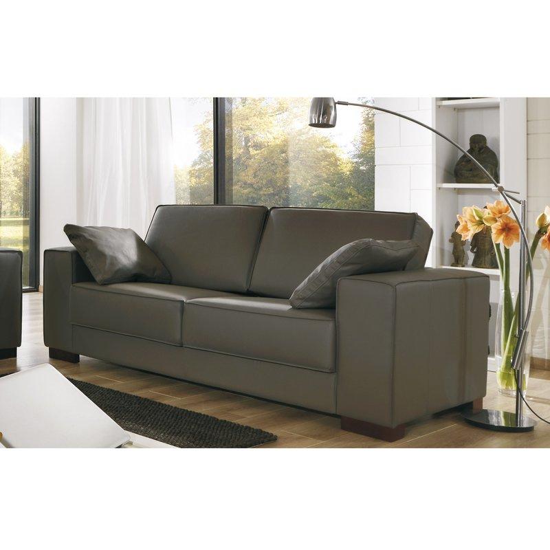 Canapé - Canapé 2 places  pieds bois avec ses 2 coussins - coloris chocolat photo 1