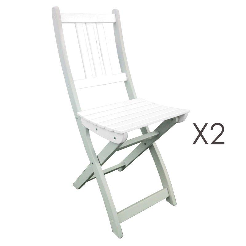 Lot de 2 chaises pliantes en acacia coloris blanc maison et styles - Lot chaises pliantes ...