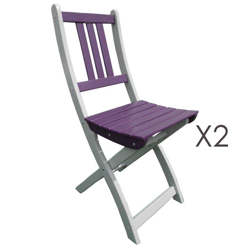 Lot de 2 chaises pliantes en acacia coloris aubergine for Lot de chaises pliantes