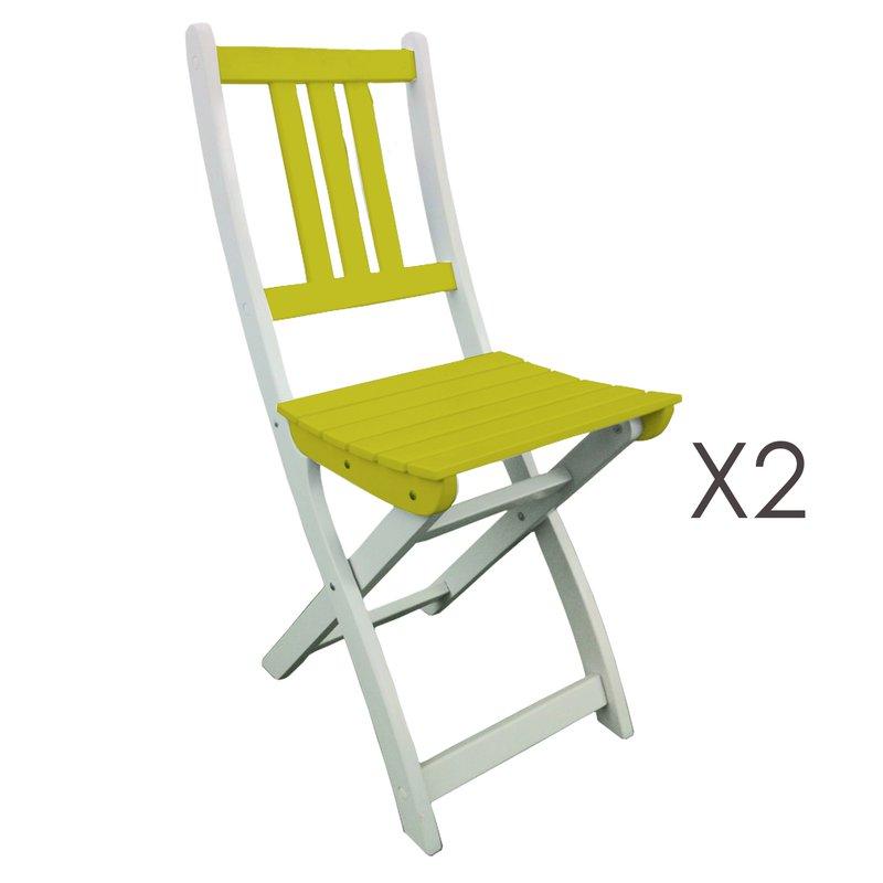 Lot de 2 chaises pliantes en acacia coloris vert anis maison et styles - Lot de chaises pliantes ...