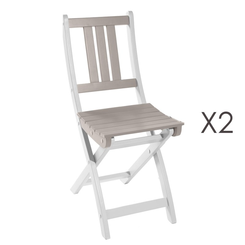 lot de 2 chaises pliantes en acacia coloris argile maison et styles. Black Bedroom Furniture Sets. Home Design Ideas