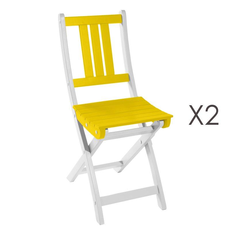 Lot de 2 chaises pliantes en acacia coloris citron for Lot de chaises pliantes