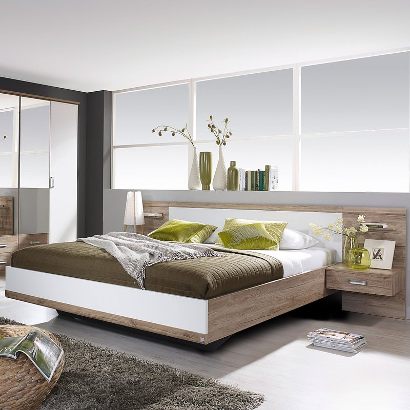 lit en 160x200cm avec 2 chevets t te de lit maison et styles. Black Bedroom Furniture Sets. Home Design Ideas