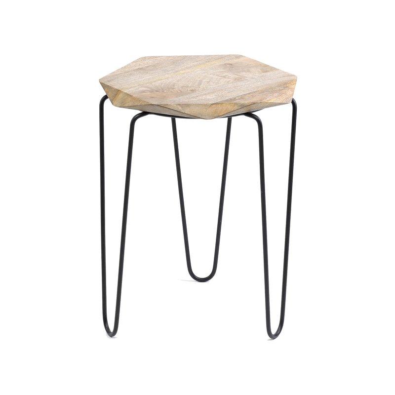 Table ronde en m tal et bois 30x30x50cm maison et styles for Table ronde bois metal