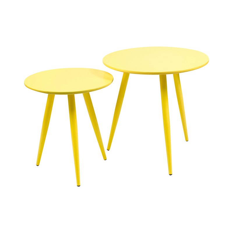 Lot De 2 Tables Basses En Métal Et Mdf Jaune Maison Et Styles