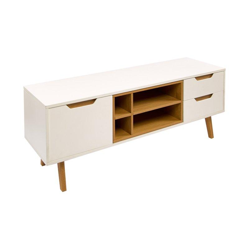 meuble t l en ch ne et mdf blanc 150x40x55cm maison et